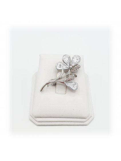 61600321cr Brož Květina s kameny Swarovski® Crystal