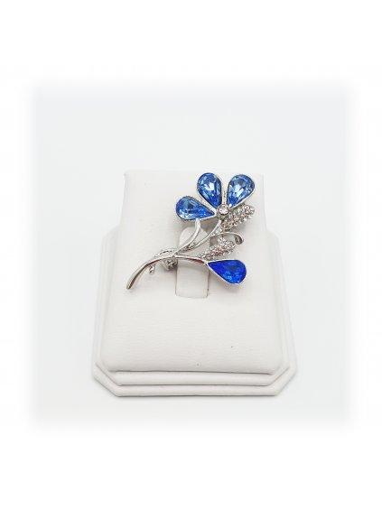 J61600321aqBrož Květina s kameny Swarovski® Blue J61600321