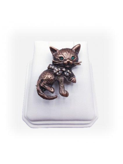 Brož kočka s mašlí