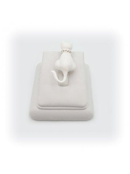 Brož Kočka bílá Swarovski® Crystal