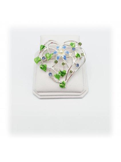 Brož Srdce modré Swarovski® F7061-0008-01 920154