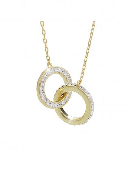 92300287g Stříbrný náhrdelník Swarovski pouto lásky gold