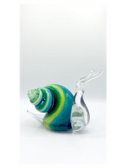 Skleněný šnek velký - zelenomodrý