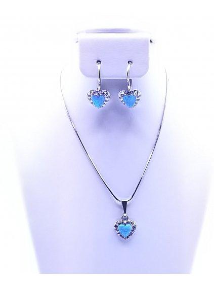 J92000356BLStříbrná sada opálkové srdíčko modré se Swarovski kamínky