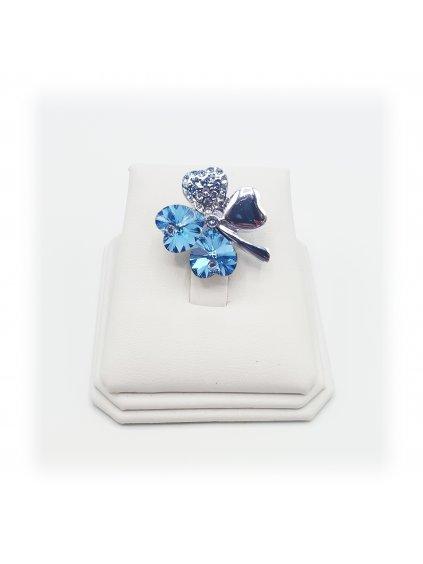 J11600582 Brož čtyřlístek modrý Swarovski® Aquamarine