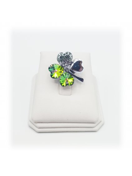 J11600582 Brož čtyřlístek zelený Swarovski® Peridot