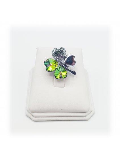 J11600582perBrož čtyřlístek zelený Swarovski® Peridot