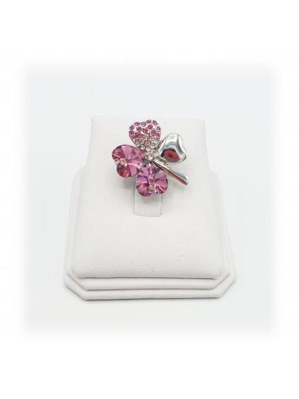 J11600582 Brož čtyřlístek modrý Swarovski® Rose