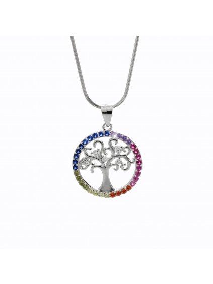 92300347multiStříbrný náhrdelník  čakrový strom života