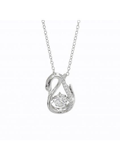 92300344crStříbrný náhrdelník labuť Swarovski