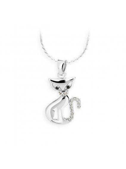 Náhrdelník Kočka s kameny Swarovski® Crystal