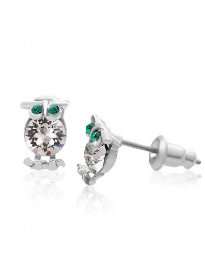 Náušnice Sova s kameny Swarovski® Crystal