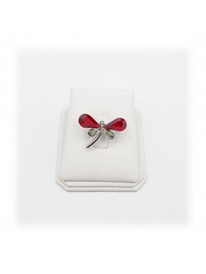 J11600710SI Brož Vážka s kameny Swarovski® Siam