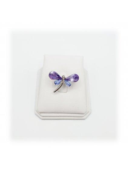 Brož Vážka s kameny Swarovski® Violet