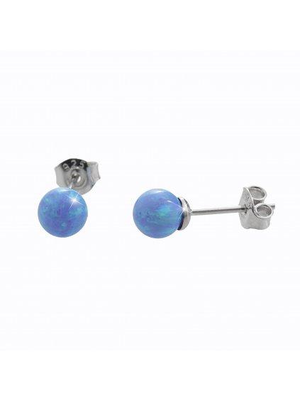 92400352blStříbrné náušnice s opálem blue