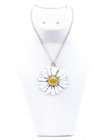 F7031-0434-01-Rh F929643 Ručně malovaný náhrdelník Kopretina
