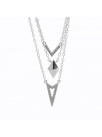 92300341crStříbrný náhrdelník Řetízkový se zirkony