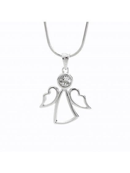 92300317cr Stříbrný náhrdelník Andílek Swarovski II
