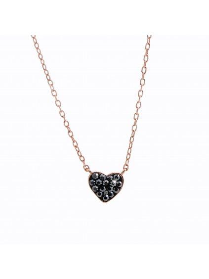 92300322rgStříbrný náhrdelník Srdíčko Black Swarovski rosa gold