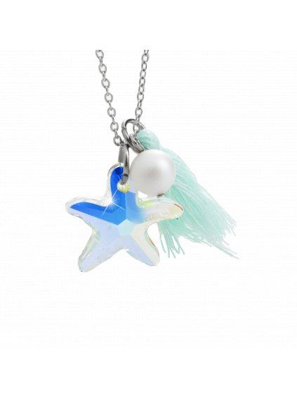Náhrdelník Mořská hvězdice s ozdobou a kameny Swarovski® Aurore Boreale 61300736aq