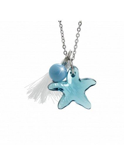 Náhrdelník Mořská hvězdice s ozdobou a kameny Swarovski® Indicolite 61300736ind