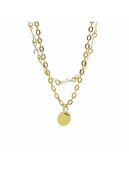 Náhrdelník dvojitý s jednoduchým medailonkem Swarovski® Crystal 61300746g cr
