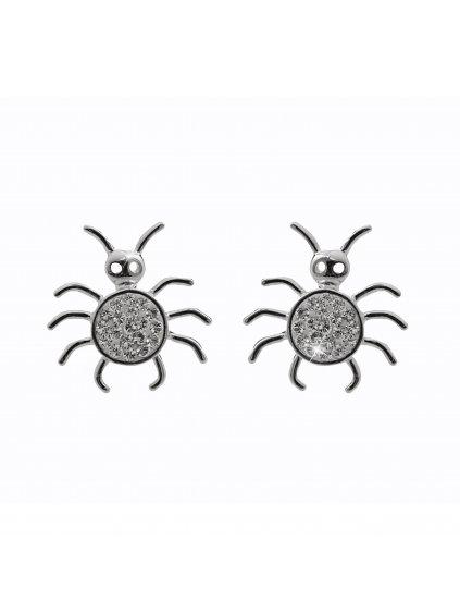 92400328crStříbrné náušnice Pavouček  pro štěstí Swarovski crystal