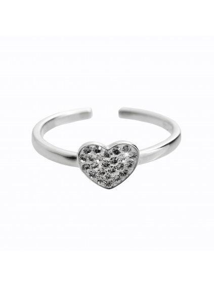 92700322crStříbrný prsten Srdíčko Swarovski crystal