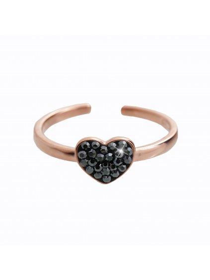 92700322rgStříbrný prsten Srdíčko Black Swarovski rosa gold