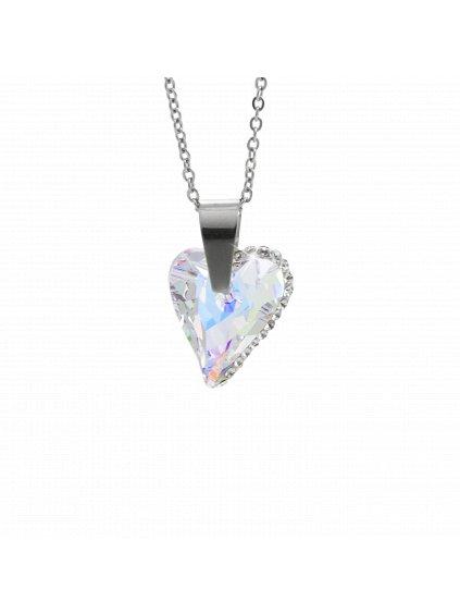 Náhrdelník srdce osázené kamínky Swarovski® Aurore Boreale 61300774ab