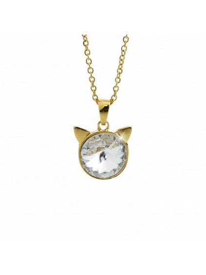 Náhrdelník Hlava kočky Swarovski® Gold Crystal 12 mm 61300783g cr