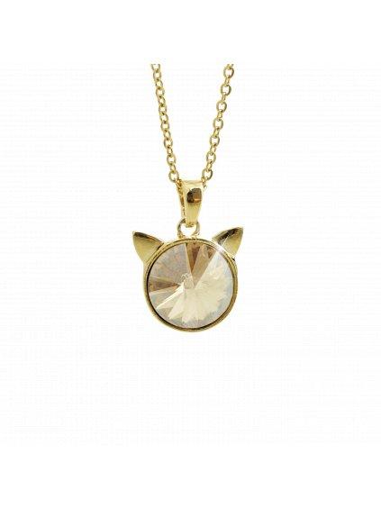 Náhrdelník Hlava kočky Swarovski® Gold Gold Shadow 12 mm 61300783g gsh