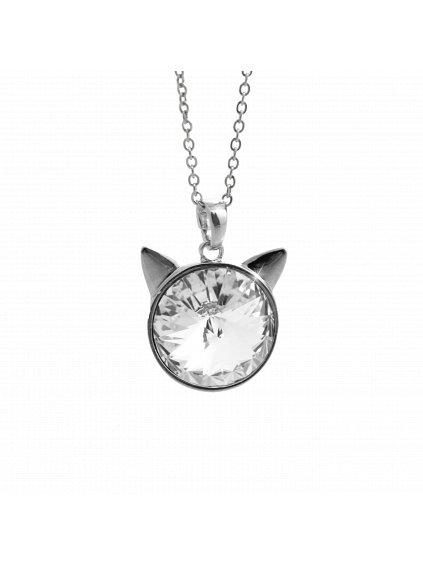 Náhrdelník Hlava kočky Swarovski® Crystal 16 mm 61300784cr