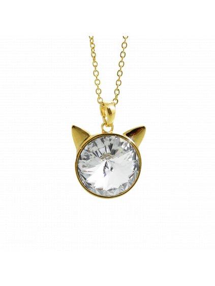 Náhrdelník Hlava kočky Swarovski® Gold Crystal 16 mm 61300784g cr