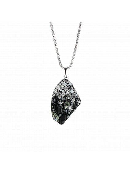 Náhrdelník krystal vyplněn kamínky Swarovski® Jet Crystal 61300807jetcr