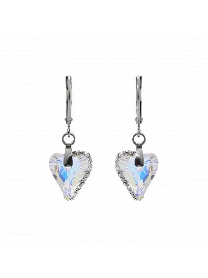 Náušnice Srdce osázené kamínky Swarovski® Aurore Boreale 61400774ab