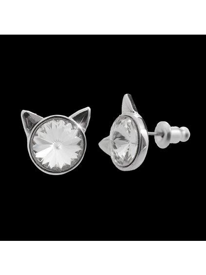 Náušnice Hlava kočky Swarovski® Crystal  61400782cr