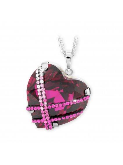 Náhrdelník Křišťálové srdce s kamínky Swarovski® Fuchsia 61300689fuch