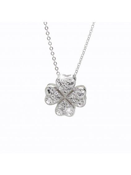 92300132cr Stříbrný náhrdelník Čtyřlístek pro štěstí Swarovski