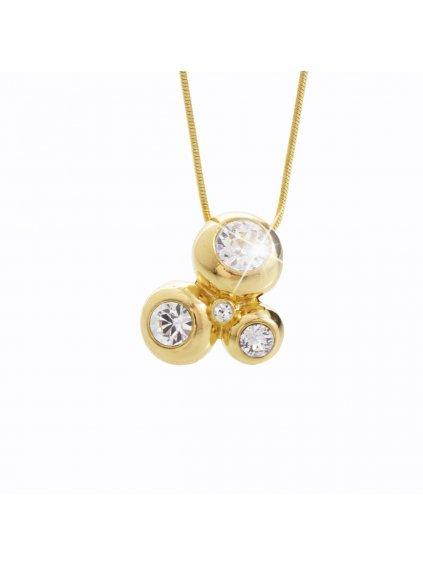 Náhrdelník 3 bubliny s kameny Swarovski® Gold