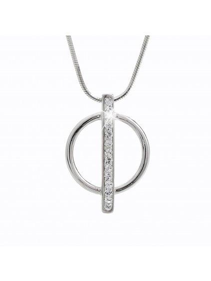 92300153crStříbrný náhrdelník Kruh s linkou kamenů Swarovski crystal