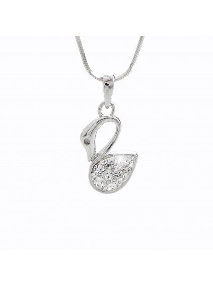 92300155crStříbrný náhrdelník Labuť Swarovski II