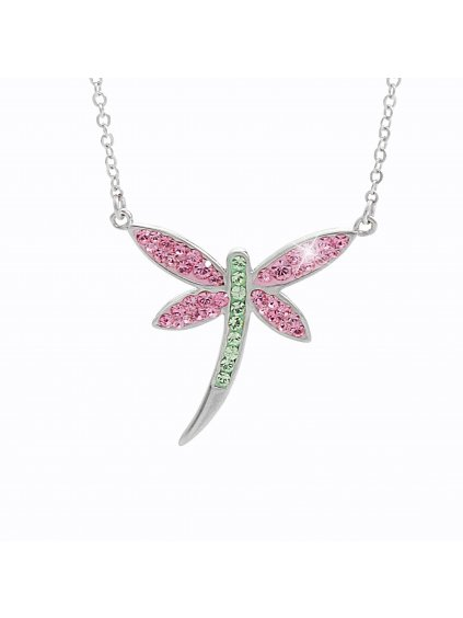 92300159ro Stříbrný náhrdelník Vážka Swarovski rosa