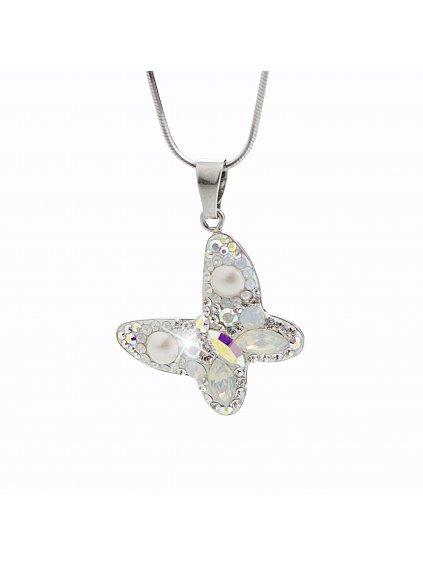 92300163ab+pStříbrný náhrdelník Motýl Swarovski AB
