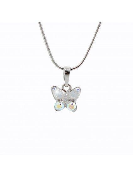 92300165ab+pDětský stříbrný náhrdelník Motýlek Swarovski AB