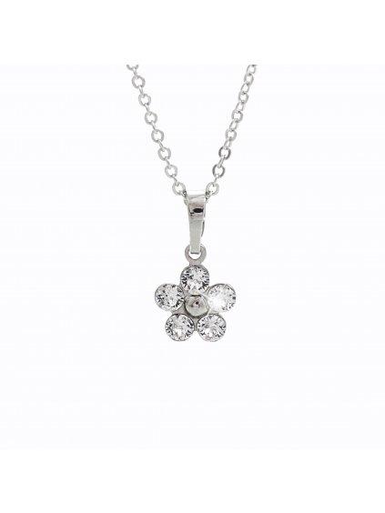 92300166crDětský stříbrný náhrdelník Kytička Swarovski crystal