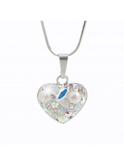 92300181ab+pStříbrný náhrdelník Srdce osázený kameny Swarovski AB