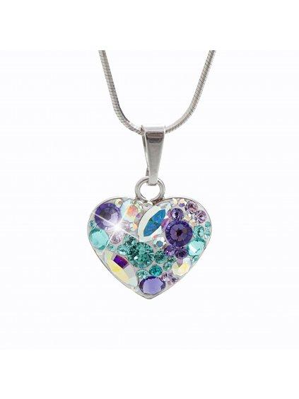 92300181purStříbrný náhrdelník Srdce osázený kameny Swarovski purple velvet