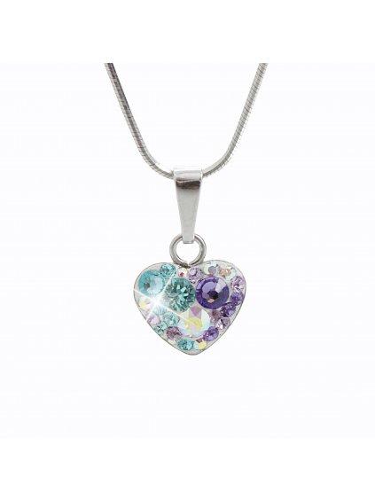 92300183purStříbrný náhrdelník Srdce osázený kameny Swarovski purple velvet I.