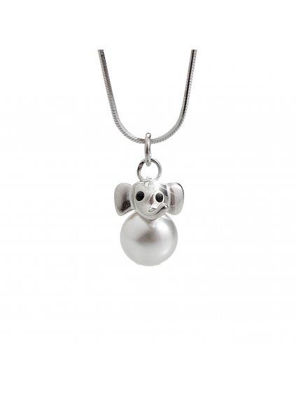 92300235wh Dětský stříbrný náhrdelník Sloník Swarovski